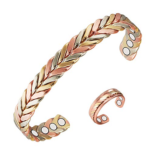 (2PCS) Tri Tone Braided 99.9% Pure Copper Magnetic Bracelet Rings Set for Women Ladies for Pain Relief for Arthritis with 8+4 Magnet, Adjustable Length