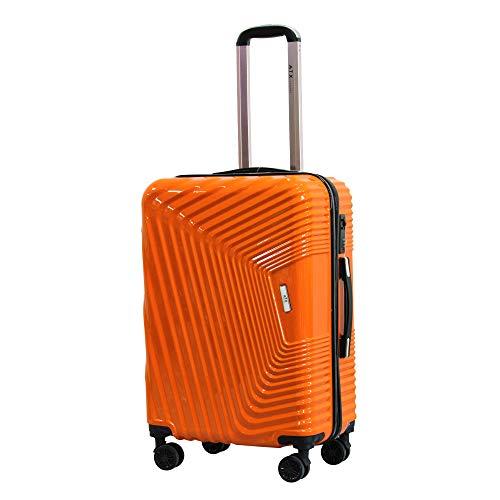 ATX - Maleta para Equipaje (PC y ABS, Ultraligera, Resistente, con 8 Ruedas y 3 dígitos) Naranja Naranja M(65cm 65L)