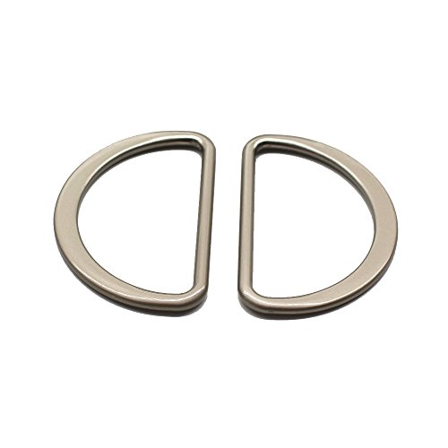 YaHoGa 10PCS Metal D Ring 2 Inch Satin Nickel Plated Non Welded Large Size D-Rings for Buckle Straps Bags Belt (50mm)