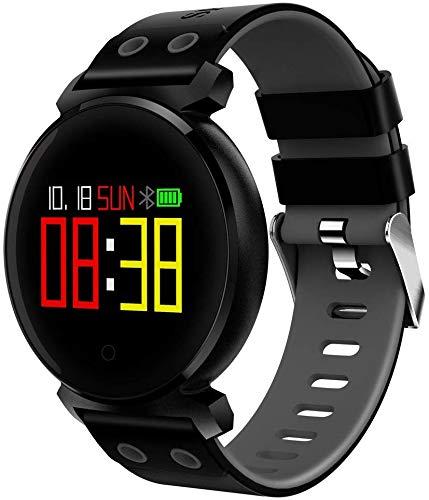Sport3 Smart Horloge Mannen Bloeddruk IP68 Waterdichte Fitness Tracker Klok Smartwatch voor iOS Android Draagbare Apparaten 0.95 Inch OLED 3D Radian Display Screen (Kleur : Zwart)
