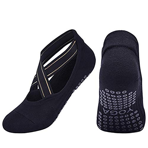 URIBAKY - Calcetines de pilates para mujer, antideslizantes, algodón, transpirables, para yoga, danza, fitness, calcetines de toalla, otoño e invierno Negro Talla única