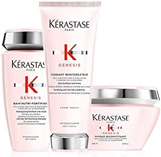 Kérastase Genesis Bain Nutri-Fortifiant 250ml, Genesis Fondant Renforcateur 200ml and Masque Reconstituant 200ml Pack