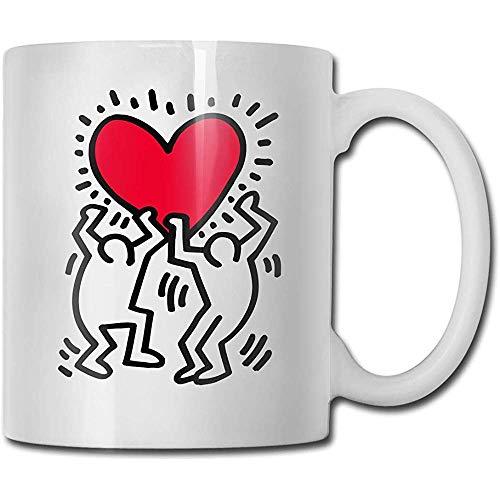 Tazas Keith Haring Love Fashion Coffee Mug Tee Cup Gift para Fans Marido Esposa Novia Blanco