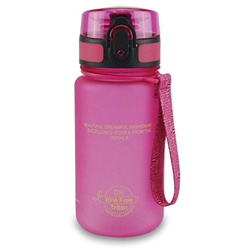 SMARDY Tritan Botella de Agua para Beber Rosa - 350ml - de plástico sin BPA - Tapa de un Clic - fácil de Abrir - ecológica - Reutilizable