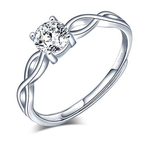 Anelli aperto per donna ragazza, anello in argento sterling 925 con simbolo di infinito - zircone intarsiato - anello di fidanzamento di nozze - misura regolabile - regalo di compleanno di Natale