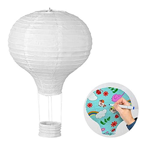 LIHAO Papierlampion Heißluftballon Lampions Deko Ballon Lampenschirm Weiß Classic Bamboo Style für Hochzeit Feier Geburtstag Party (12