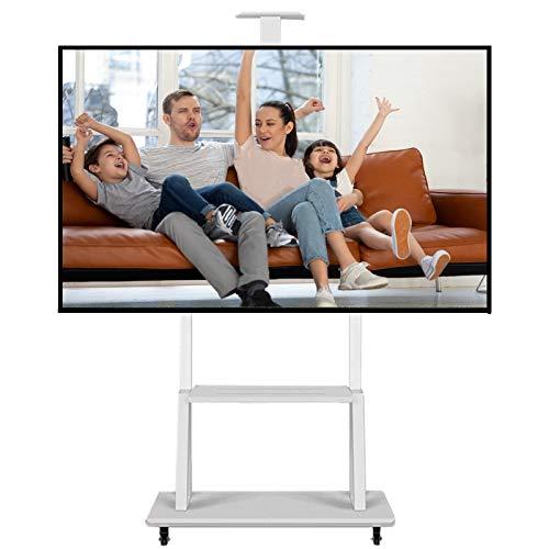 SSZY Soporte TV Trole 32 40 42 55 65 70 Pulgadas TV Soporte Universal para TV Blanco, Carro con Ruedas de Piso Rodante de Altura Ajustable, Incluye Estante para Cámara AV, Admite 100kg