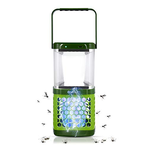 YUNLIGHTS 2-in-1 Solar Bug Zapper LED Camping Lantern, Portable Waterproof Mosquito Killer Lamp with 3 Lighting Modes and USB Charging for Indoor, Outdoor, Home, Hiking, Fishing, Emergency
