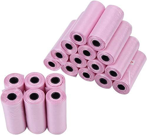 Sacchetto per rifiuti per cani, 20 rotoli Cacca per cani Cestino Sacchi per immondizia Sacchetto per raccolta rifiuti domestici per cani e gatti (Rosa)