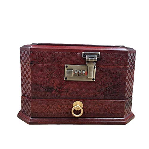 GWFVA Multipurpose Storage Box, Redwood High Capacity Wooden Jewelry Box with Handcrafted Pattern, for Holder Earrings Rings Accessories 28 21 26CM