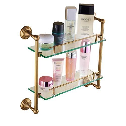Lotion & zeepdispenser badkamer plank badkamer plank dubbele badkamer glazen plank wand kaptafel dragende 20kg (kleur: messing maat: 43 * 12 * 6cm) 43 * 12 * 6cm-brass