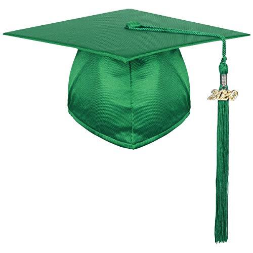iiniim Doktorhut Studentenhut Erwachsene Abschluss Hut 2020 Jahreszahl Anhänger Quaste für Uni Bachelor Abschlussfeier Grün Einheitsgröße