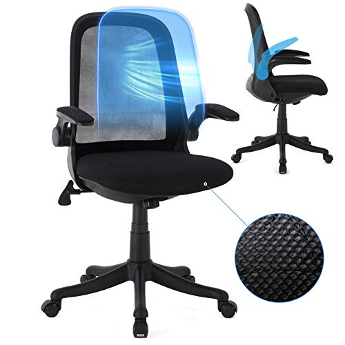Ergousit Office Chair,Computer Desk Chair with Ergonomic Back Support and Thick Cushion,Mid Back Chair with Flip-up Arms, Adjustable Height Task Chair.Weight capicity 300LBS(Black)