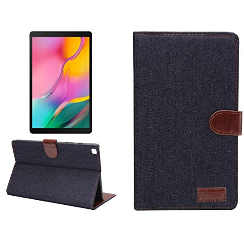 YUNCHAO Dibase Denim Texture Horizontal Flip PC + PU Leather Case with Holder & Card Slots & Sleep/Wake-up Function For Galaxy Tab A 8.0 inch (2019) / T290 / T295 (Color : Black)