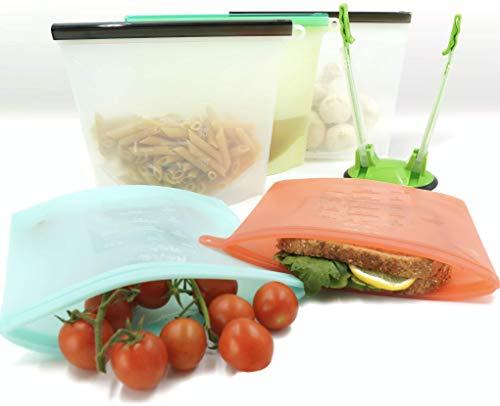 5 bolsas de silicona reutilizables para alimentos y soporte – Bolsas de silicona con cremallera, reutilizables, grandes bolsas de congelador reutilizables, bolsas de almuerzo reutilizables, bolsa de almacenamiento de alimentos de silicona, contenedores de silicona reutilizables