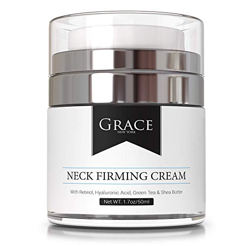 Grace Neck Firming Cream with Retinol, Hyaluronic Acid | Anti Aging Face Cream, Neck Cream and Double Chin Reducer | For Crepe Erase, Turkey Neck Tightener and Wrinkle Cream