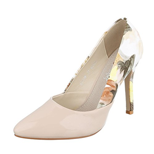 Ital-Design High Heel Damen-Schuhe Plateau Pfennig-/Stilettoabsatz High Heels Pumps Beige Multi, Gr 38, Cl-49P-