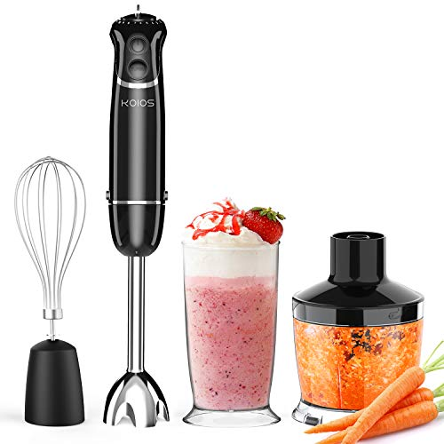 KOIOS Hand Blender Immersion for Kitchen with Chopper Bowl 500ml, Mixing Beaker 600ml, and Whisk, 800 Watt 12 Speed Electric Hand Blender Set, 2 Years Warranty Nebraska
