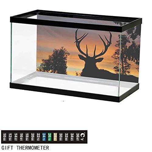 Stevenhome Aquarium Background,Poster Fish Tank Background,Black Deer on Sky Background West Coast South Island New Zealand Nature Wallpaper Fish Tank Backdrop L24 X H12 inch