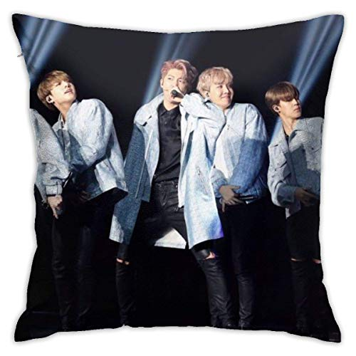 FETEAM B.T.S Throw Pillow Covers 18 'X 18' Inch Sofá Decoración para el hogar Funda de Almohada Cuadrada Funda de Almohada Decorativa para la Cintura