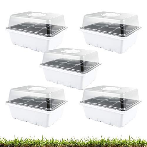 5 Pezzi Vassoi di Avviamento per Piantine Vassoi per Piante con cupole Ventilate Kit di Propagazione per Piantine in Serra (6 Celle per Vassoio, 5pcs)