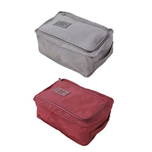 Amuzocity Paquete de 2 Organizadores de Zapatos de Gimnasio de Viaje para El Hogar, Bolsa con Cremallera, Caja Gris Y Rojo Vino