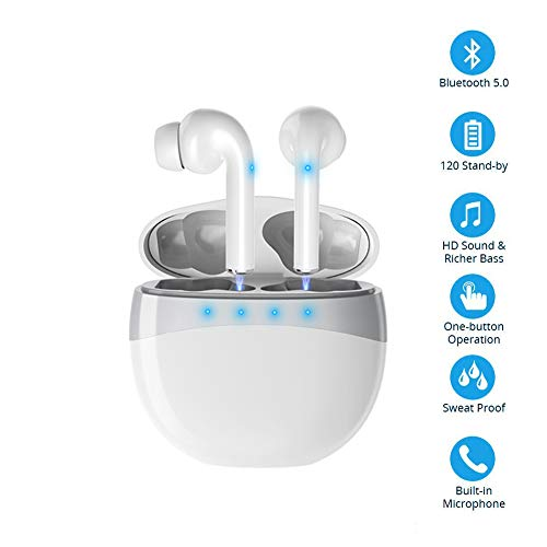 Mini Auriculares inalámbricos Bluetooth con micrófono IPX Auriculares Deportivos estéreo con cancelación de Ruido a Prueba de Agua con Caja de Carga Compatible con Todos los teléfonos Inteligentes