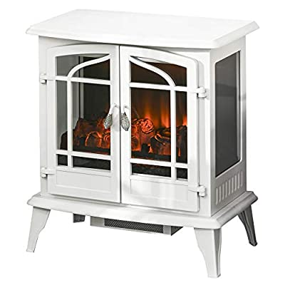 HOMCOM Vintage Electric Fireplace with 2 Tempered Glass Door, LED Log Flame, Adjustable Temperature, White