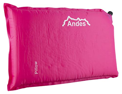 Andes Pink Self Inflating 5cm Camping Pillow Blow Up Travel Cushion Accessories