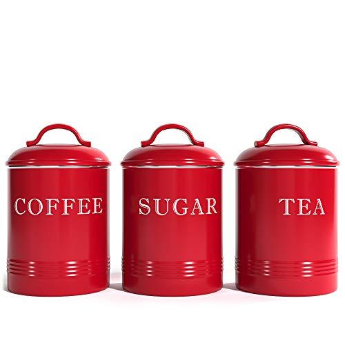 Barnyard Designs - Recipientes herméticos de cocina con tapas, metal rojo rústico para decoración de granja, azúcar, café, té (juego de 3) (10 x 17 cm)