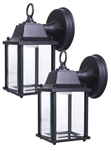 LIT-PaTH - Farol de pared LED para exteriores, lámpara de pared como accesorio de iluminación de porche, 5000 K, luz blanca diurna, 9,5 W (equivalente a 75 W), 800 lúmenes, carcasa de aluminio más vidrio, clasificación al aire última intervensión, 2 unidades