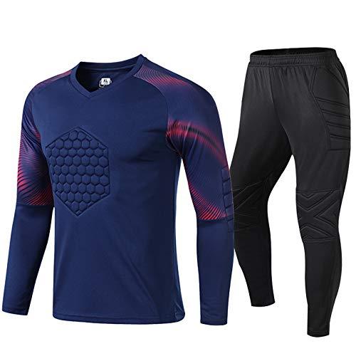 WHZDQ Jersey de Uniforme de Portero Traje de protección anticolisión de Portero con Textura en Bloques de Color Camiseta y Pantalones de fútbol Regalos navideños para Adultos y niños,Blue,4XL