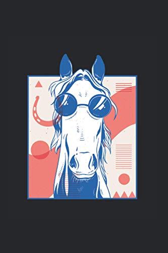 Caballo con gafas de sol: Din A5 cool horse cuaderno de regalo en forma de herradura con 120 páginas
