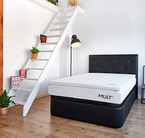 MAXCOLCHON Viskoelastische Matratzenauflage, 140 x 190 cm, 4 cm dick, abnehmbarer Bezug und Gelenk, hohe Anpassungsfähigkeit