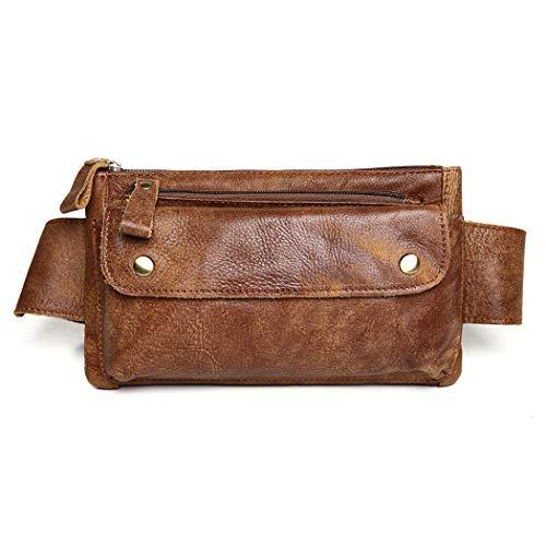 JOYIR Genuine Leather Waist Bag Vintage Messenger Fanny Pack Bum Bag for Sport Hiking Traveling Climbing - Brown