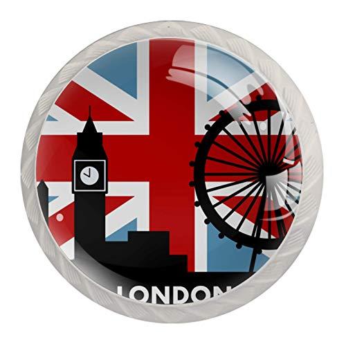 Paquete de 4 tiradores de cajón y pomos para cajones con tornillos de cristal para cajón, gabinete, tirador de puerta de cocina, armario de puerta de Reino Unido, bandera británica de Londres