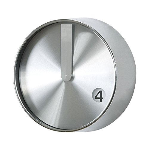 Time Concept 8' Round Minimal Wall Clock - Silver - Metal Steel Frame,...