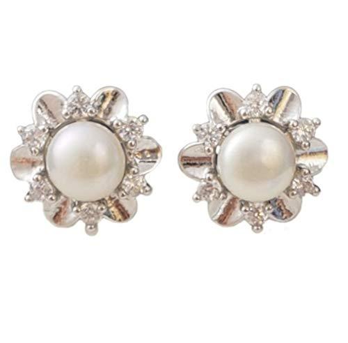 925 zilveren sneeuwvlok oorbellen witte parel oorbellen kunst decoratie As Shown ZILVER