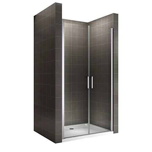 i-flair Duschtür 77x180 cm Verstellbereich von 77-80 cm, Höhe: 180 cm, Duschabtrennung aus 6 mm durchsichtigem ESG Sicherheitsglas mit Nanobeschichtung und Edelstahlgriffe - Alle Größen NC
