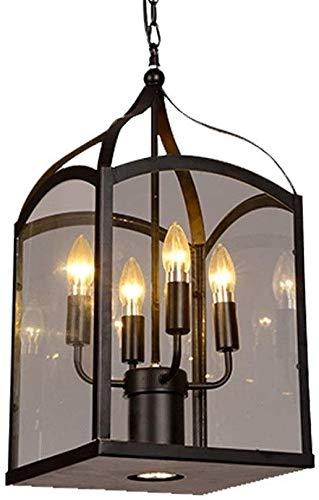 4 Heads E14 Wrought Iron Chandelier Adjustable Iron Chain Indoor Hanging Lamp Church Villa Restaurant Decoration Pendant LightGlass Lampshade Hanging Lantern