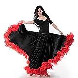 Danza del Vientre Las Mujeres, ATS Tribal De 25 Yardas Falda De Flamenco Volantes De Encaje Grande del Traje del Vestido Faldas Oscilación Bailarina Baile, Funcionamiento, Etapa, De Halloween,Negro