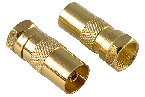 Poppstar - 2X Adaptateur Sat antenne coaxial (1x connecteur-F vers fiche d'antenne IEC vers 1x Prise d'antenne IEC) Connecteur coaxial pour câble coaxiaux - d'antenne, plaquées Or