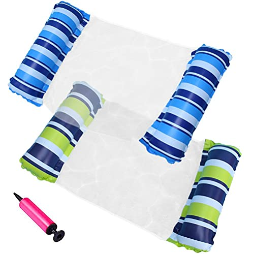 Hamaca inflable, colchón de aire, piscina, cama de natación inflable, juguete para piscina, 4 en 1, hamaca de agua, para hombres y mujeres, 2 camas flotantes + 1 bomba de aire
