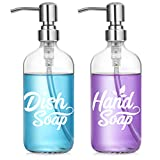 Dish and Hand Soap Dispenser Set - Glass Hand Soap + Dish Soap Dispenser for Kitchen, Bathroom - High Temperature Ceramic Ink Printing Never Falling Off - 16 oz Bottles with 304 Stainless Steel Pumps