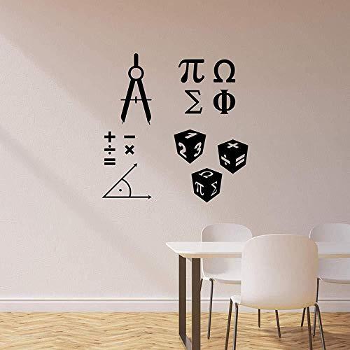 Matematica Simbolo Adesivi murali Murale per Aula Scolastica Matematica Scienza Vinile Adesivo Decorazioni per la casa Arte Murale Poster 57x58 cm