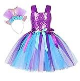 Jurebecia Niñas Sirena Disfraz Princesa Vestir Fiesta de Lujo Cumpleaños Halloween Vestido de Tutú Outfit con Accesorios Morado 4-5 Años