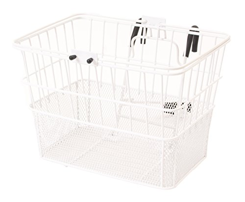 Retrospec Bicycles Detachable Steel Half-Mesh Apollo Bike Basket with Handles, Glossy White