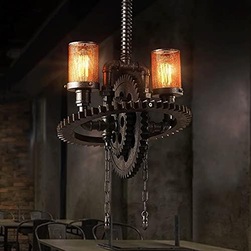 Accesorio de iluminación E27 Steampunk Lata de hierro labrado Lámpara de lámparas Colgante Luz Vintage Industria Agua Tubería de agua Metal Restaurante Droplight Antique Resin Engranaje Bar Cofe Tiend