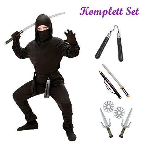 Kinder Karneval Ninja Kostüm Komplett Set / Coat mit Kapuze, Hose, Gürtel, Maske, Arm- und Beinbänder, Katana, Sai Gabeln, Nunchaku (152/158)