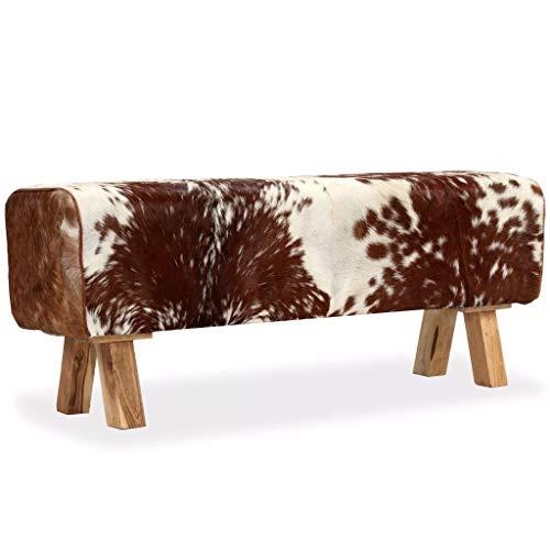 vidaXL Sitzbank Lederbank Flurbank Bank Turnbock Turnhocker Echtes Ziegenleder Beine aus Massivholz 120x30x45cm Mehrfarbig